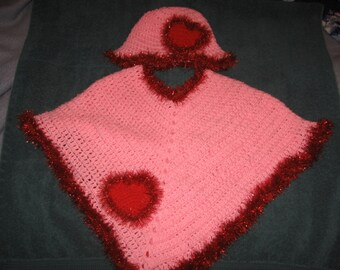 Pink Poncho with Hat and Fuzzy Hearts attached