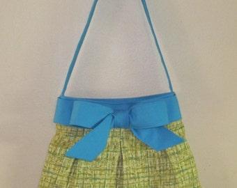 Handmade Over the Shoulder Pleated Bow Handbag, Medium Green and Blue