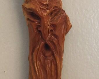 Wood Spirit Carving/Tree Spirit Carving/Rustic Folk Art