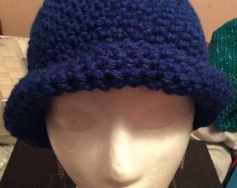 Blue crochet winter hat handmade, made in Canada, winter hats, hats, adult hats, Laska Boutique