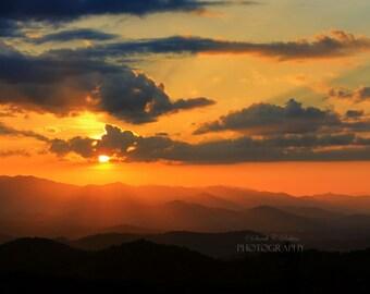 Mountain Photography-Sunset Photography-Metallic Print-North Carolina-Landscape Photography-Sky-Horizontal Photo-20x30-Orange-Black-Yellow