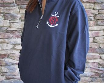 Monogrammed Quarter Zip Sweatshirt - 12 colors