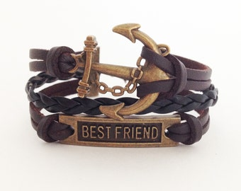 BFF bracelet Best Friend bracelet Anchor bracelet Brown leather bracelet Friendship bracelet Gift