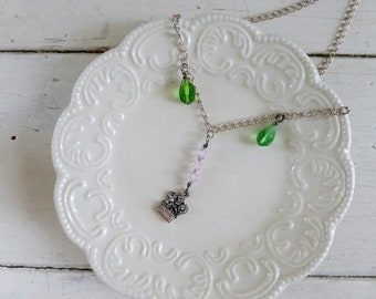 Pendant necklace, beaded necklace, chain necklace, ready to ship, handmade, floral necklace, spring time, spring flowers, gift idea