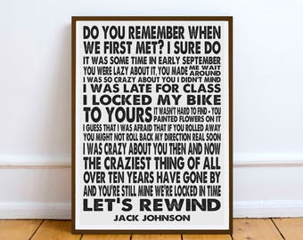 Jack Johnson quote - Do You Remember...   print poster wall art gift music lyric song