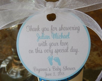 """50 - Baby Shower custom 2"""" Thank You Favor Tags - for your Mini Wine or Champagne Bottles - Mason Jar or Cookie Gifts"""