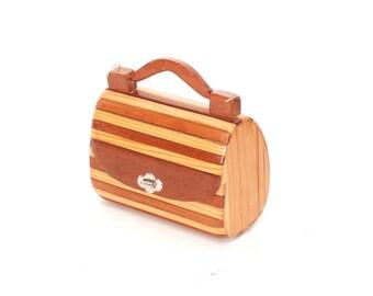 HANDMADE wooden 60s 70s BOHEMIAN BOX purse