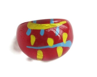 Genuine  Red Lucite Dome Hippie Ring Size 8