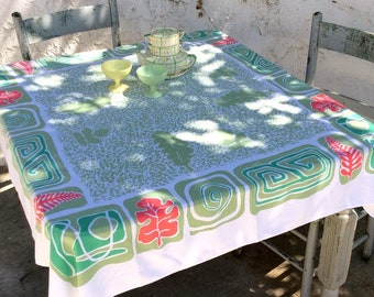 Vintage Tablecloth Space Age Atomic Geometric Retro Kitchen Groovy Leaves Fall