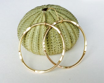 "14k Gold Filled Hammered ""Bamboo"" Hoop Earrings"