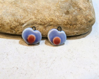 2 hearts, charms for earrings, blue and coral, ooak handmade ceramic supply, components