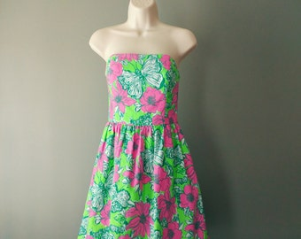 Lilly Pulitzer Strapless Dress , Size 2 Lottie Green Bloomin' Cacoonin' Short Dress , Size Small
