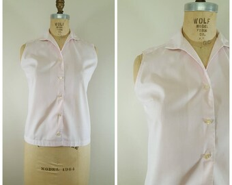 Vintage 1950s Sleeveless Blouse / Pink Cotton Blouse / Tank Top / Medium