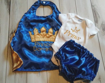 3 piece Newborn baby boy royalty King Prince photo prop royal blue gold crown onesie cape diaper cover