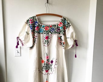 Vintage 70s Embroidered Mexican Gauze Dress, BOHO Hippie Caftan