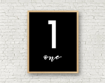 Number One // Simple 1 Printable // Individual Numbers Wall Art Print // 8x10 // Digital Print File // Numerology Gift // Black and White