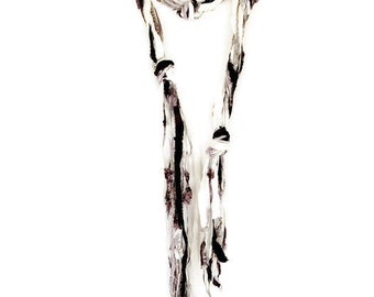 Black and White Boho Scarf   Art Yarn Scarf   Silk Scarf   Fringe Scarf   Black and White Skinny Scarf   Boho Chic Clothing   Long Scarf