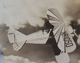 "Vintage 8"" x 10"" Real Photo Print.. Famous Pilot Al Williams & Gulfhawk Biplane Airplane Autographed"