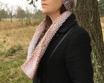 Hat and cowl set, Diamond. Hand - knitted