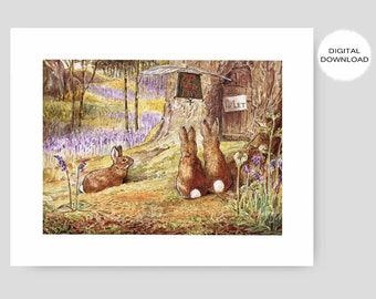 "Printable Rabbit Nursery Decor, Woodland Wall Art (Boys Room Print, Girls Bedroom, Beatrix Potter Download) ""Flopsy, Mopsy, and Cottontail"""