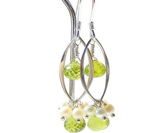 Peridot Pearl Earrings, Sterling Silver Marquis, Green White Bridal, Wedding Jewelry