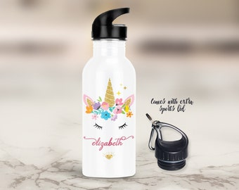 Gift for Kids - Personalized Unicorn Water Bottle - Stainless Steel - Straw Top & Extra Sports Lid - Inspirational - Birthday, Recital, Gift