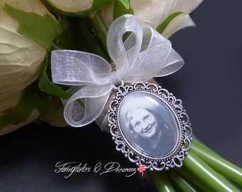 Ribbon BOW - Bridal Bouquet Photo Charm with your own personalised photo, Memorial Charm, Silver or Bronze - 25x18 Photo