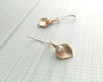 Calla Lily Earrings - rose gold matte finish & freshwater pearls - locking kidney ear hook - delicate flower bridal bride bridesmaid jewelry