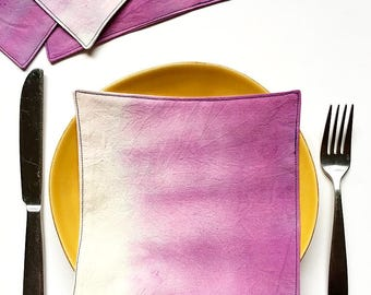 Cloth Cocktail Napkins - Dip Dyed - Violet Napkins - Hand Dyed Fabric - Housewarming Gift - Hostess Gift - Bridesmaid Gift
