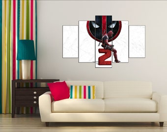 Deadpool 2, 5 Panels Deadpool print, Deadpool poster, Super Hero Wall Art, Deadpool wall decor, Deadpool canvas, Deadpool wall art, Deadpool