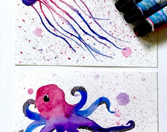 A SET OF Octopus and jellyfish water colour paintings