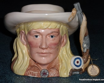 Annie Oakley Character Toby Jug D6732 Royal Doulton Wild West Collection 1984 Gunslinger Cowgirl Collectible Mother's Day Gift!