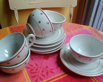 Pretty set of 5 cups and saucers - Vintage French Luneville