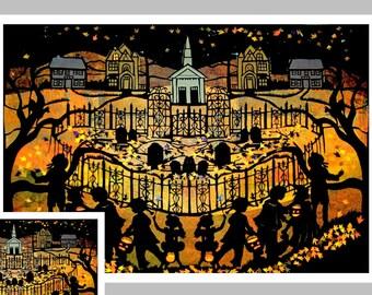 "Spooky Halloween Card,  ""Halloween Night in the Village"" #15"