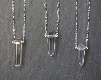 Quartz Necklace / Quartz Crystal Necklace /  Crystal Necklace / Silver Quartz Necklace / Clear Quartz  Pendant