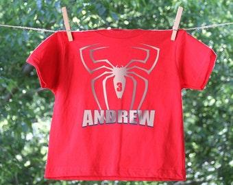 Spider Superhero Birthday Shirt - short sleeve with Personalization