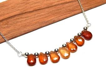 Garnet gemtone jewelry, sterling garnet necklace, sterling silver garnet jewelry, hessonite garnet, January birthstone