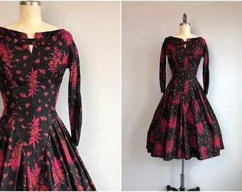 Vintage 50s Silk Dress / 1950s Jonny Herbert Rose Floral Ikat Print Pleated Dress / Black Red Fuchsia