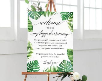 Tropical  Unplugged Wedding Sign, Unplugged Ceremony Sign Printable, Unplugged Sign, Unplugged Wedding Download, PDF Instant Download #E027