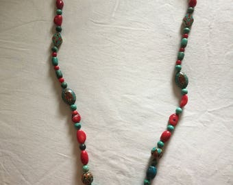 32 inch Coral and Turquoise Necklace with Middle Eastern inlaid beads.   Silver clasp