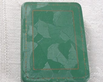 Vintage Jewelry Presentation Box Green Paper Covering