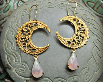 MOON DROPS Earrings filigree crescent moons and moon glow glass drops gypsy witch