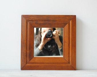 Vintage Wood Mirror, Square Mirror, Wooden Wall Mirror, Small Mirror