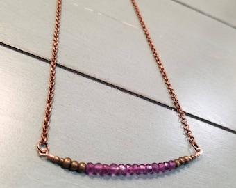 Amethyst Necklace / Copper Amethyst Necklace / Amethyst Jewelry / Amethyst Gemstone Necklace / February Birthstone / Amethyst Gemstone