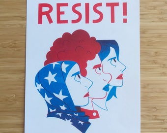 Resist! 8x10 Risograph Print