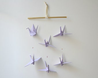 Hanging mobile crane origami crane gift decoration purple and gold