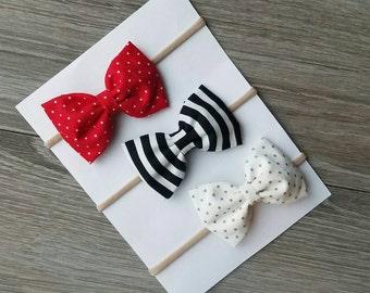 3 pack, fabric bow, red bow, red fabric bow, black striped bow, gray bow, baby headband, nylon headband,