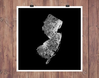 Road Map - New Jersey High Resolution Digital Print / New Jersey Map Art / New Jersey Print / New Jersey Wall Art / New Jersey Gift / NJ Map