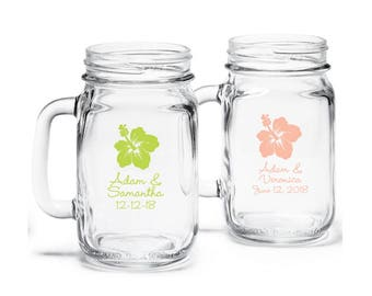 24 pcs Hibiscus Design Personalized Mason Jar Drinking Glass (JM365294)