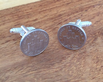 Isle of Man 5p Coin Tower of Refuge Cufflinks